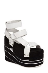 Jeffrey Campbell Women's Cambell Altamira Platform Wedge Sandal White Black Leather