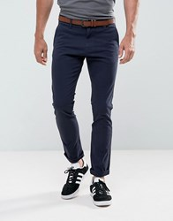 Tom Tailor Skinny Chino With Belt Navy