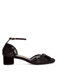 Salvatore Ferragamo Enny Lace Block Heel Pumps Black