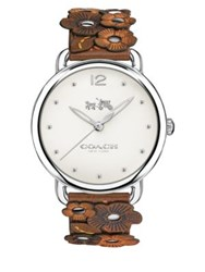 Coach Delancey Floral Stainless Steel And Leather Strap Watch Brown