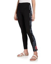 Johnny Was Plus Size Davis Leggings With Floral Embroidery Black