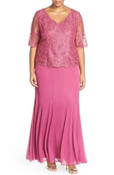 Plus Size Women's Alex Evenings Short Sleeve Lace And Chiffon V Neck Gown