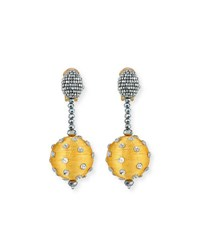 Oscar De La Renta Polka Dot Sequin Clip On Earrings Yellow
