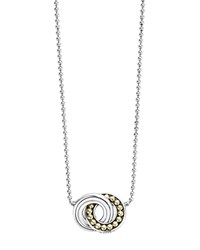 Lagos 18K Gold And Sterling Silver Enso Interlocking Circle Pendant Necklace 16 Silver Gold
