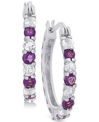 Macy's Amethyst 3 4 Ct. T.W. And White Topaz 1 Ct. T.W. Hoop Earrings In Sterling Silver