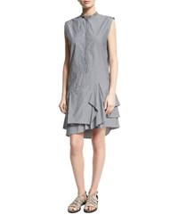 Brunello Cucinelli Striped Monili Collar Ruffle Hem Dress Multi