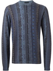Etro Striped Floral Paisley Sweater Blue
