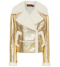 Sies Marjan Hensley Metallic Shearling Jacket Gold