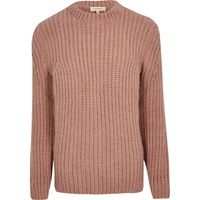 River Island Mens Pink Chunky Knit Jumper