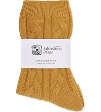 Johnstons Cable Knit Cashmere Socks Gorse