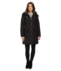 Jessica Simpson Quilted Fill Puffer With Hood And Fleece Bib Black Women's Coat