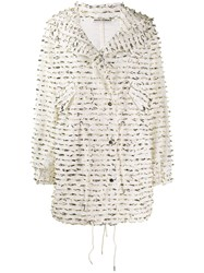 Jourden Foil Embellished Single Breasted Coat White