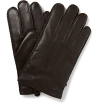 Polo Ralph Lauren Cashmere Lined Leather Gloves Brown