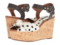 Dolce And Gabbana Polka Dot Cady Knot Cork Wedge With Raffia Strap 50Mm White Black