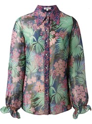 Manoush Sheer Floral Print Blouse Green