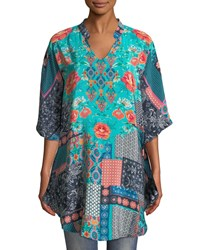 591c72abdfcb40 Tolani Belle V Neck 3 4 Sleeve Mixed Print Silk Tunic Navy