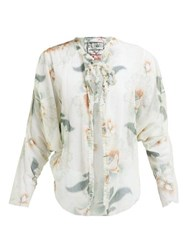 By Walid Iris Floral Print Cotton Tulle Jacket Ivory Multi