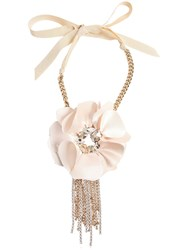 Lanvin Jeweled Flower Choker Necklace