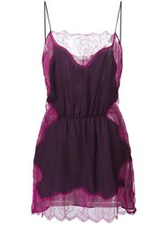 Fleur Du Mal Rose Lace Applique Slip Pink Purple