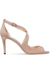 Jimmy Choo Emily 85 Suede Sandals Neutral