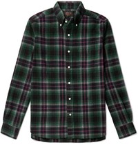 Beams Plus Button Down Collar Cotton Flannel Shirt Green
