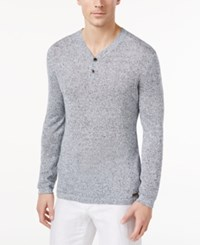 Tasso Elba Men's Marled Linen Henley Sweater Only At Macy's Blue Marl