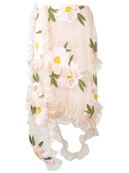 Simone Rocha Floral Embroidered Frill Skirt Nude And Neutrals