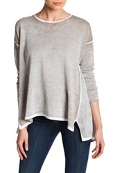 Cullen Mesh Side Draped Shirt Gray