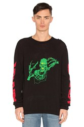 Off White Skull Knit Rock Sweater Black