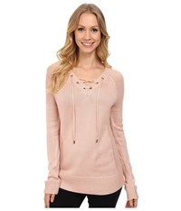 Calvin Klein Lace Up V Neck Sweater Blush Women's Sweater Pink