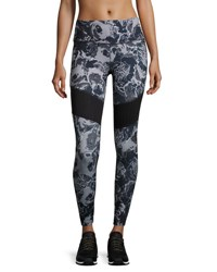 The North Face Motivation Mesh Performance Leggings Black Roses Print Black Pattern