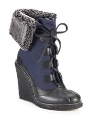 Tory Burch Fairfax Shearling Cuffed Canvas Wedge Booties Black Wash