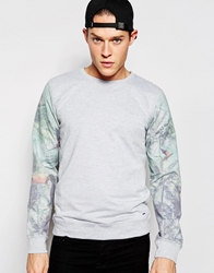 Solid Sweatshirt With Tropical Print Sleeves Grey
