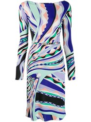 Emilio Pucci Burle Print Fitted Dress Green