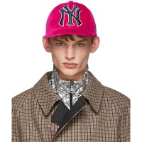 Gucci Pink Ny Yankees Edition Velvet Cap