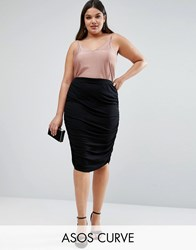 Asos Curve Pencil Skirt With Ruched Side Black