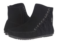 Minnetonka Willow Boot Black Suede Women's Pull On Boots