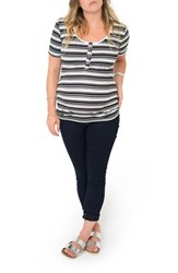 Women's Nom Maternity Ruched Nursing Maternity Tee Black White Even Stripe