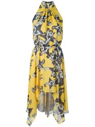 Versace Collection Baroque Star Print Dress Yellow And Orange