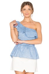 J.O.A. One Shoulder Lace Top Blue
