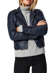 Selected Femme Holly Leather Biker Jacket Dark Sapphire