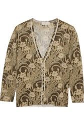 Tory Burch Vanessa Metallic Stretch Knit Cardigan Dark Brown