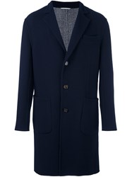 Brunello Cucinelli Single Breasted Notched Lapel Coat Blue