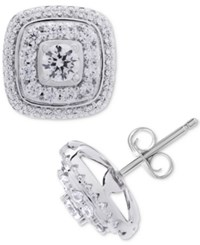 Wrapped In Love Diamond Square Halo Diamond Stud Earrings 1 Ct. T.W. 14K White Gold Created For Macy's