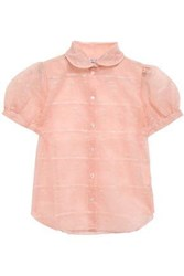 Shrimps Eugenie Embroidered Organza Shirt Peach