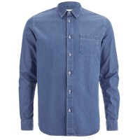 Folk Men's Denim Long Sleeved Shirt Light Denim Blue