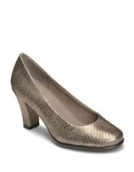 Aerosoles Major Role Leather Slip On Pumps Silver