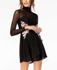 Material Girl Juniors' Embroidered Mesh Fit And Flare Dress Created For Macy's Caviar