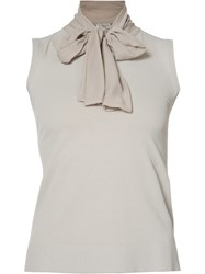 D.Exterior Pussy Bow Blouse Grey