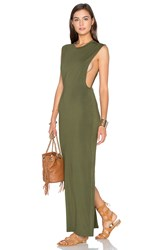 Bobi Jersey Sleeveless Back Slit Maxi Dress Green